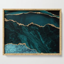 Teal Blue Emerald Marble Landscapes Serving Tray