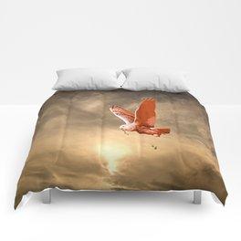 Snowy Owl's Sky Flight Comforters