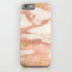 Marble - Rose Gold Shimmer Marble with Yellow Gold Glitter iPhone 6s Slim Case