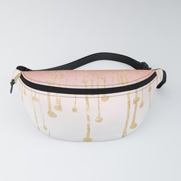 Color block coral faux gold glitter waterdrops ombre Fanny Pack
