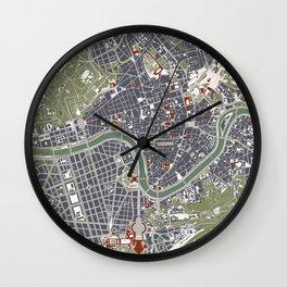 Rome city map engraving Wall Clock