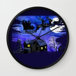 Flying Santa in watercolor Wall Clock