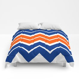 Big Chevron:  Blue + Orange Comforters