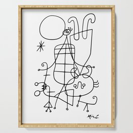 Joan Miro, Figures And Dog In Front Of The Sun, 1949 Sketch Artwork, Men, Women, Kids, Prints, Poste Serving Tray