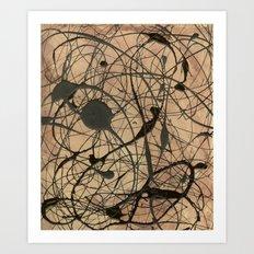 Pollock Inspired Abstract Black On Beige Art Print