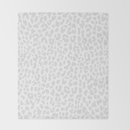 Pale Gray Leopard Throw Blanket