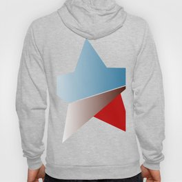 Ombre red white and blue star Hoody