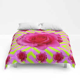 CONTEMPORARY CHARTREUSE PINK ROSES ABSTRACT GARDEN ART Comforters