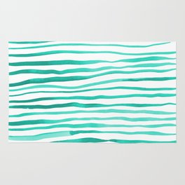 Irregular watercolor lines - turquoise Rug