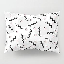 Old School Retro Funky Memphis 80's Pattern Black White Grey Pink Pillow Sham