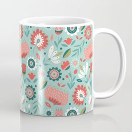 Folk Art Florals in Mint Coffee Mug
