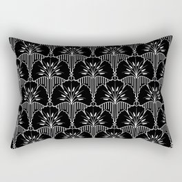 Ethnic style black and white minimalistic background.  Abstract floral design. Rectangular Pillow