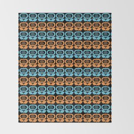 Mid Century Modern Retro Abstract Flowers Turquoise and Orange on Black Throw Blanket