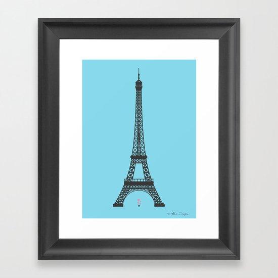Eiffel Tower - First Kiss Framed Art Print
