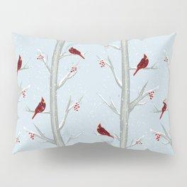 Red Cardinal Bird In The Winter Forest Pillow Sham