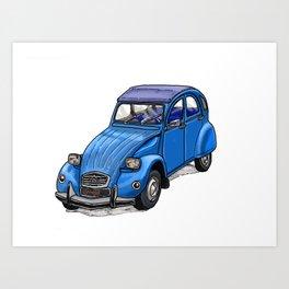 Blue 2CV Art Print
