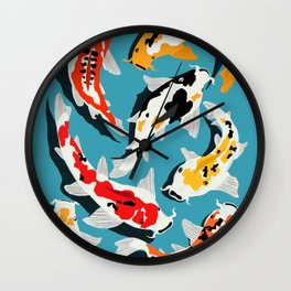 Colorful Koi Carps Swimming Around Wall Clock