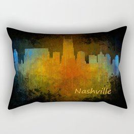 Nashville city skyline Tennessee watercolor v4 Dak Rectangular Pillow