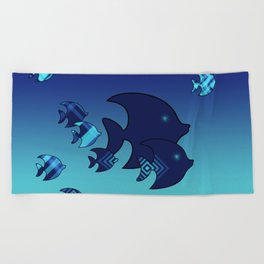Nine Blue Fish with Patterns Beach Towel