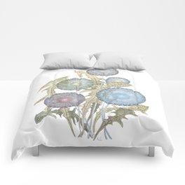 Dandelions watercolor painting Comforters