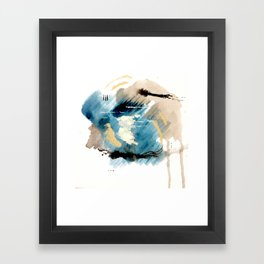 You are an Ocean - abstract India Ink & Acrylic in blue, gray, brown, black and white Framed Art Print
