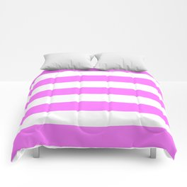 Fuchsia pink - solid color - white stripes pattern Comforters