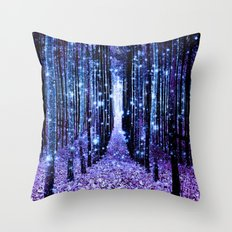 Magical Forest Turquoise Purple Throw Pillow