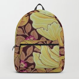 William Morris Yellow Orchids and Violets Textile Pattern Backpack