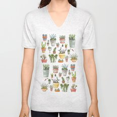 Potted Succulents Unisex V-Neck