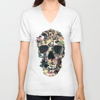 instagram V-neck T-shirts featuring Vintage Skull by Ali GULEC