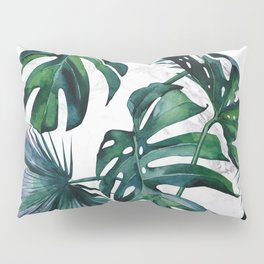 Tropical Palm Leaves Classic on Marble Pillow Sham