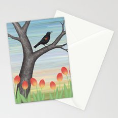 red winged blackbird and tulips Stationery Cards