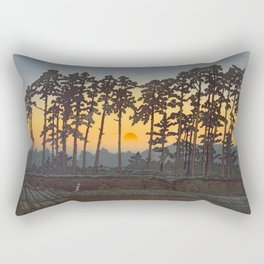 Japanese Woodblock Print Morning Sunrise Farm Tree Silhouette Rectangular Pillow