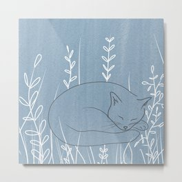 Sleepy Cat - Botanical Blue Metal Print