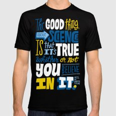 The Good Thing About Science LARGE Black Mens Fitted Tee