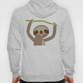 funny and cute smiling Three-toed sloth on green branch 2 Hoody