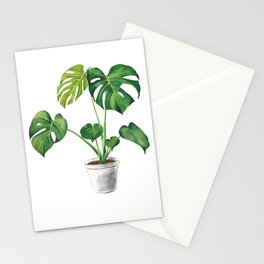 Monstera in a pot watercolor illustration  Stationery Cards