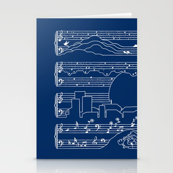 The Moonlight Sonata Blue Stationery Cards