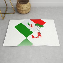 Elegant Italia - Italy Flag And Map Rug