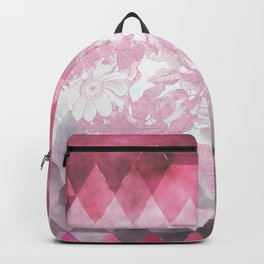 Abstract pink gray watercolor floral triangles Backpack