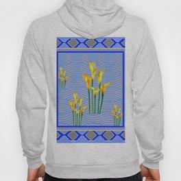 Shades of Blue Yellow Calla Lily Art Hoody