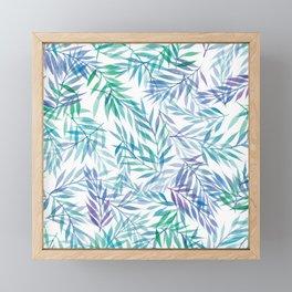 Watercolour Ferns | Original Blue Green Framed Mini Art Print