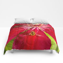 Flowers & bugs RED PASSION FLOWER & HOVERFLY Comforters