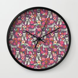 Schnauzer floral dog breed must have gifts for schnauzers Wall Clock