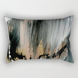 01025: a neutral abstract in gold, black, and white Rectangular Pillow