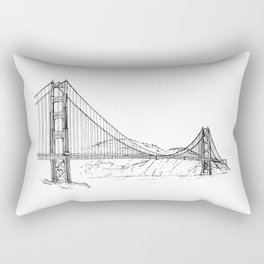 San Francisco Golden Gate Bridge   Black and White Architecture Drawing Rectangular Pillow
