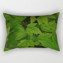 Green Maple Leaves Rectangular Pillow