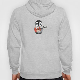 Baby Penguin Playing Canadian Flag Guitar Hoody