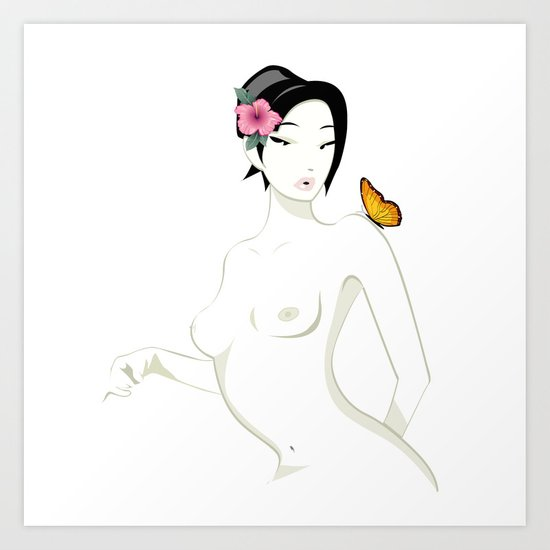 Madame Butterfly, Minimal and Essential Art Print