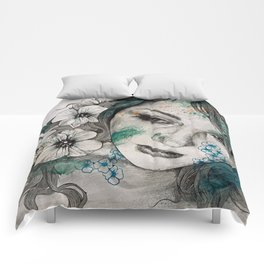 Cleopatra's Sling (flower tattoo lady portrait drawing) Comforters